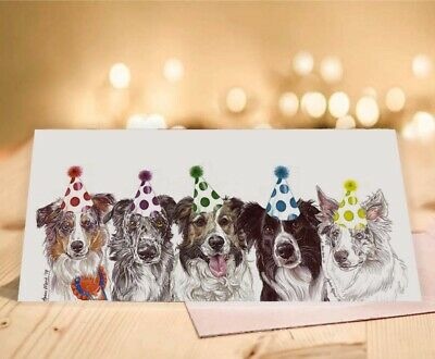 Single Luxury Long Border Collie Dog Greeting Card Gift/Present Birthday