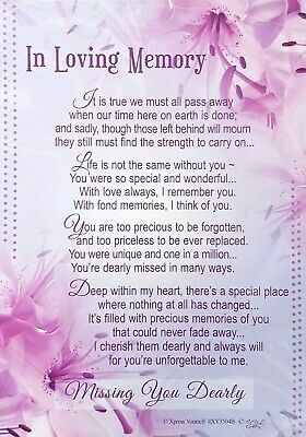 Graveside Card IN LOVING MEMORY Missing You Dearly Poem Grave Memorial Funeral💕