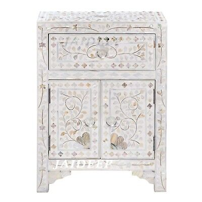 Handmade Mother of Pearl inlay White Floral Bedside Table Nightstand