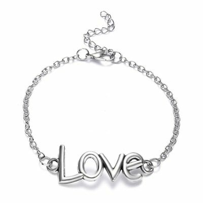 Chic LOVE Lettering Silver Plated Bracelet Bangle Valentine's Day Jewelry Gift