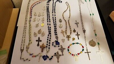 Lot of Religious Items-Catholic Medals Italy Rosaries Pins Some Sterling Silver