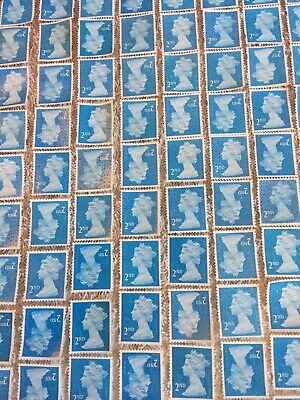 500 x 2nd Class Security Stamps Unfranked Off Paper No Gum
