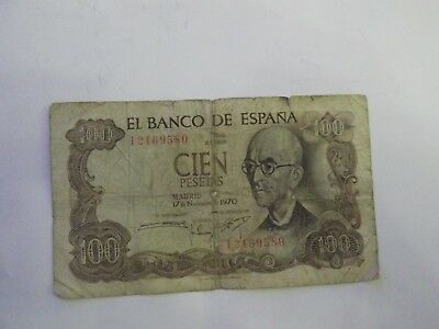 Spain 100 pesetas banknote 1970 good condition tiny holes and tears E 20
