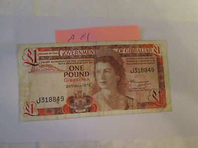 gibraltar one pound banknotes 1975 in good condition - collection or gift