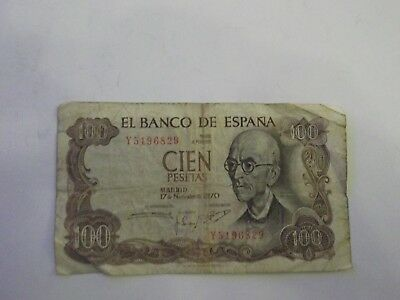 Spain 100 pesetas banknote 1970 good condition tiny holes and tears E 19