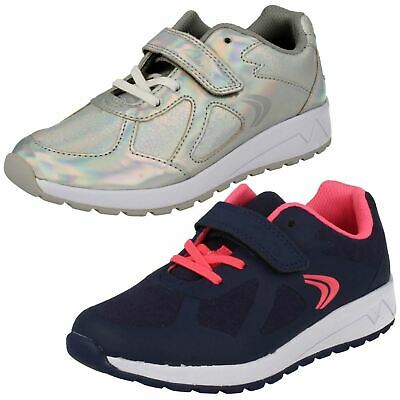 GIRLS CLARKS TRENDY LACE UP SPORTS TRAINERS SHOES FLUENCYSPORT BL WHITE LEATHER