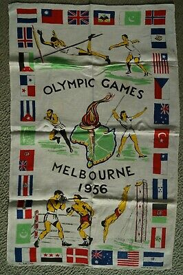 Olympic Games Collectable 1956 Melbourne Original Pure Linen Coffee Tablecloth