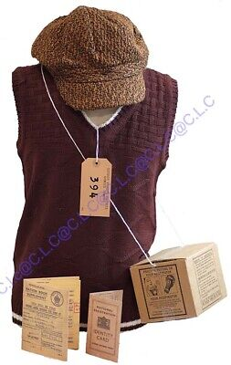 1940's-Wartime-Schools-KNITTED TANK TOP, CAP, GAS MASK BOX & ACCESSORIES