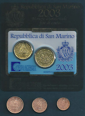 SAN MARINO 2003 MINI KIT 20+50 CENTS +tre monete FdC da rotolino 1c 2c 5c 2004
