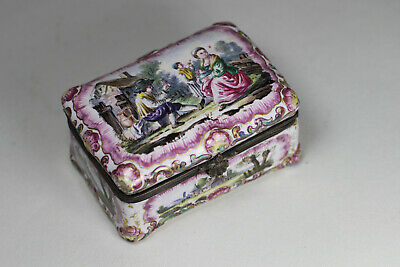 Antique French 18th/19th Century Earthenware Faience Box Figures Signed RX