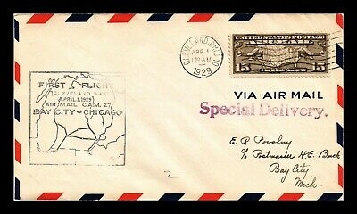 Dr Jim Stamps Us Cleveland Cam 27 First Flight Air Mail Cover Bay City Backstamp