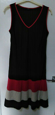 Marks & Spencers Linen mix Dress Black Pink white sleeveless 16 short