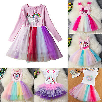 Kids Girl Unicorn Dress Party Tulle Tutu Costume Princess Holiday Outfit Clothes