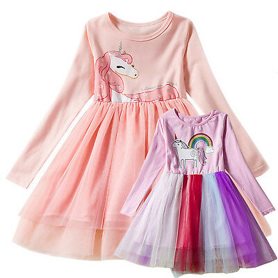 Kid Toddler Girl Unicorn Princess Holiday Dress Party Pageant Tulle Tutu Dresses