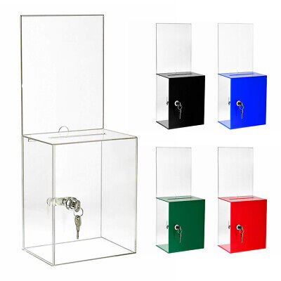 AdirOffice Tall Acrylic Ballot Box Large Display Locking Suggestion Donation Box