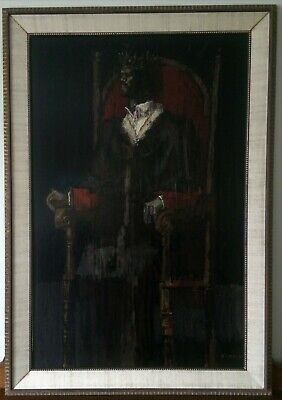 Vintage MCM Framed Oil Painting ~ 'King on Throne' by William Quigley Kidston