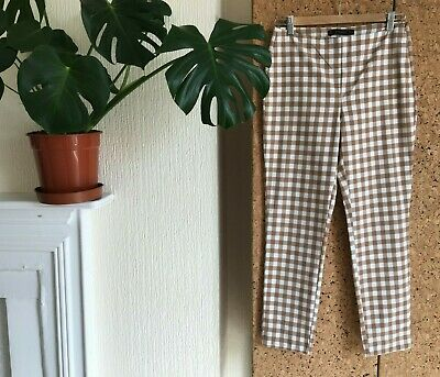 fae6c2d7 Zara Gingham Check Trousers White Brown Beige Tea Tan Picnic Ankle Straight  W28