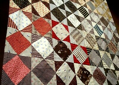 Antique vtg late 1800's Six Patch Quilt Top hand stitched patchwork calico