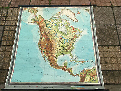 XL antique vintage old backed map NORTH AMERICA USA Canada unusual projection