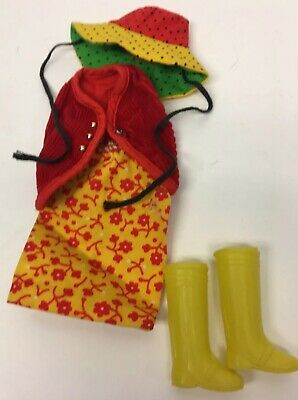 Vintage Barbie Skipper Midge Red Vest Yellow Outfit  W Boots & Hat