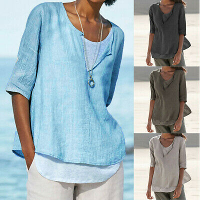 Casual Plus Size Women's Loose Linen Button V Neck Solid Shirt Blouse Tunic Tops