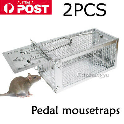 2PCS Mouse Rat Trap Cage Small Live Animal Pest Rodent Control Bait Catch OZ
