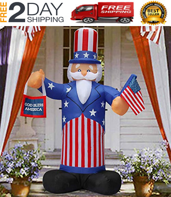 7 Ft Patriotic Independence Day/Flag Day Inflatable Uncle Sam Hold an American F