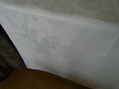 Large Vintage Irish Linen Damask Tablecloth - 71 X 88 Inches