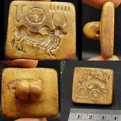Indus Valley Old Unique Cow & Letter signs Seal intaglio stamp  #36