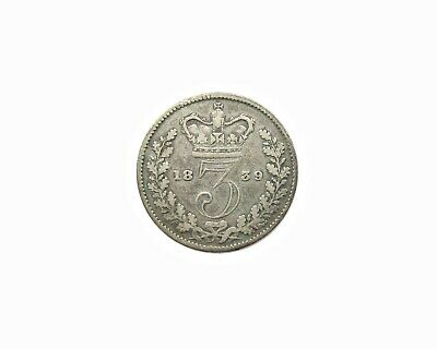 Victoria 1839 Young Head Silver Threepence