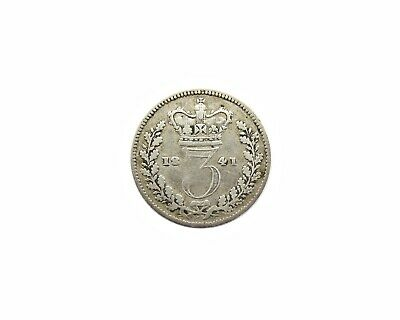 Victoria 1841 Young Head Silver Threepence