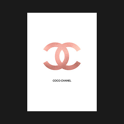Coco Chanel - Rose Gold Foil Effect - Poster Print Wall Art Decor - A5 A4 A3