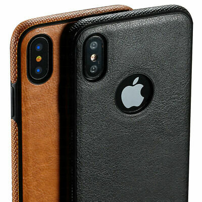For iPhone XS MAX XR X 7 8 6S 6 Slim Genuine PU Leather Soft TPU Back Case Cover