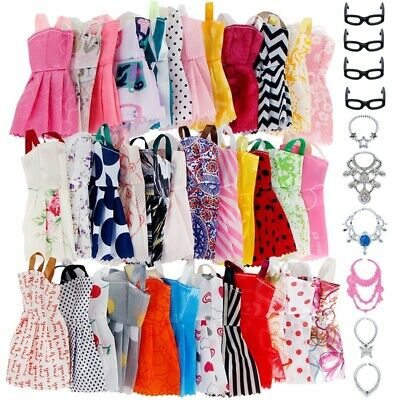 30pcs DIY Handmade Doll Clothes for 12 inch Dolls Dress Glasses Necklaces Shoes