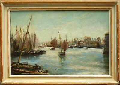 19th CENTURY FRENCH HARBOUR VIEW SAILBOATS Concarneau Antique Oil Painting