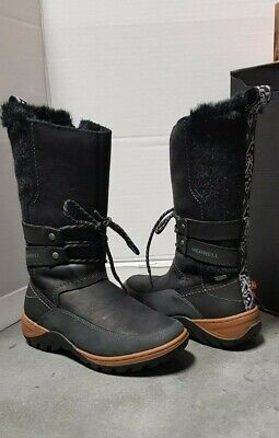 4f9bada521d81 MERRELL SYLVA TALL Boot Women's Size 9.5 Black Leather With Faux Fur ...