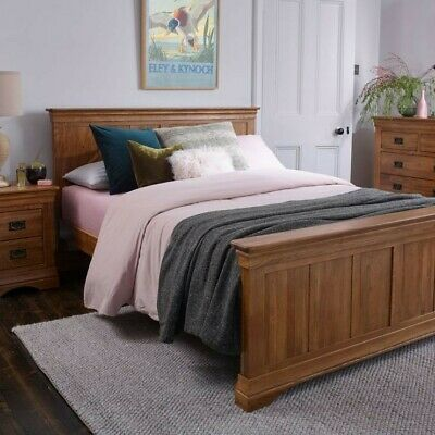 French Farmhouse Rustic Solid Oak 6ft Super King-Size Bed and mattress