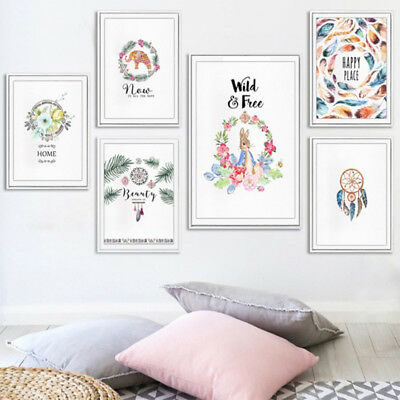 Modern Home Feather Dream Catcher Flower Canvas Painting Picture Frameless Decor