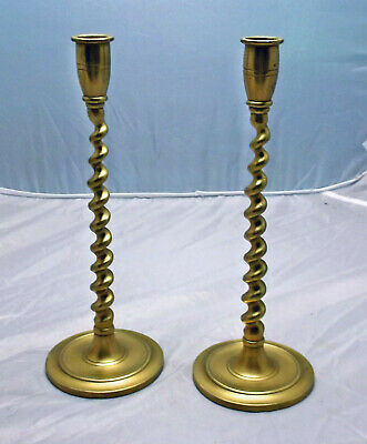 Vintage Pair of Brass Candle Holders, Candlesticks, Twisted Barleycorn Stem