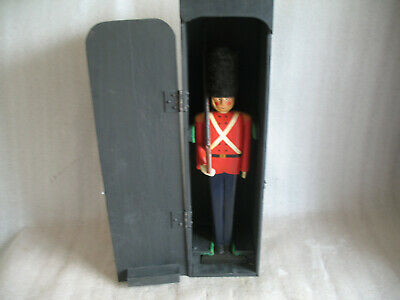 Hand Carved Wood Carving Primitive Folk Art Red Coat Soldier GUARD with box 15 ""