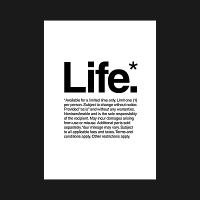 Life - Quote Typography Poster Posters Print Prints Wall Art - A5 A4 A3 A2 A1