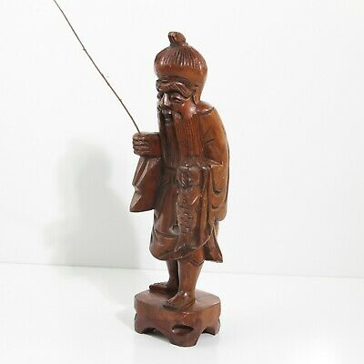 "Unique Vintage Asian Hand Carved Boxwood Wood Asian Fisherman Figurine 12"" Tall"