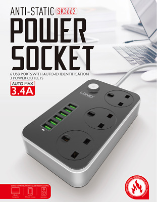 Outlet Power Strip Surge Extention Cord With 6 USB ports Quick Charge 3.4A