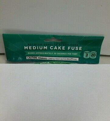 20' Fireworks Premium Medium Cake Hobby Fuse Label 3mm Green 18sec per foot