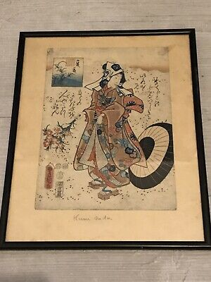 Japanese Woodblock Print Utagawa Kunisada (1786-1865) Ukiyo-e Antique Seal Rare
