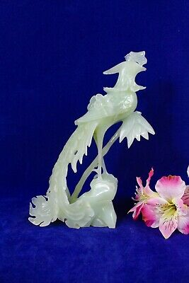 Antique Chinese Jade Hand Carved Bird Of Paradise Statue