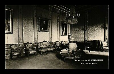 Dr Jim Stamps Reception Hall Chapultepec Castle Mexico City Real Photo Postcard