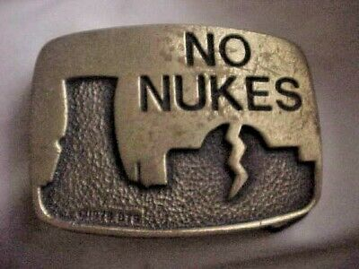 Vintage Metal Belt Buckle NO NUKES 1979 BTS Solid Brass made USA nuclear power