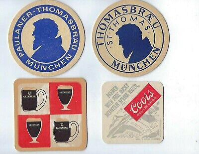 Lot of 8  Vintage Beer Coasters-Coors Light, Guiness, Salvator, Thomasbrau