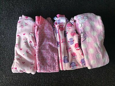 Baby Girls Fleece Jumpsuit Bundle Size 0, Clothing,Winter,Pink,White,Minnie,Bunn